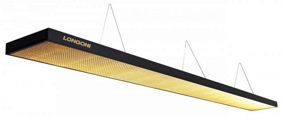 Лампа плоская люминесцентная Longoni Magnum (черная, золотистый отражатель) 75.287.03.7