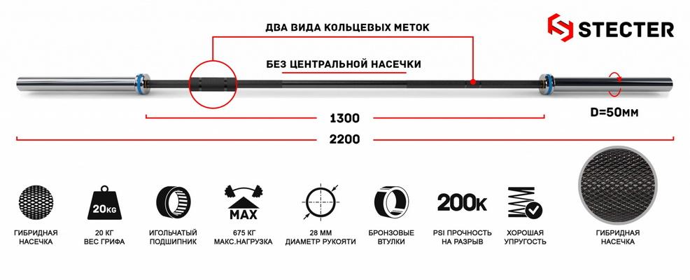 Купить Гриф для штанги Stecter L=220 см D=50 мм Men`s Bar 20 кг 2183,