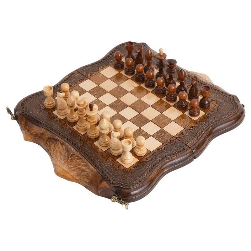 Шахматы + Нарды резные Ohanyan Арарат с бронзой 30