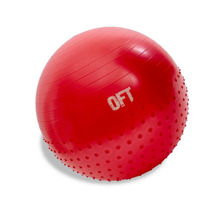 Гимнастический мяч Original Fit.Tools 65 см с массажным эффектом красный FT-HMSB-65