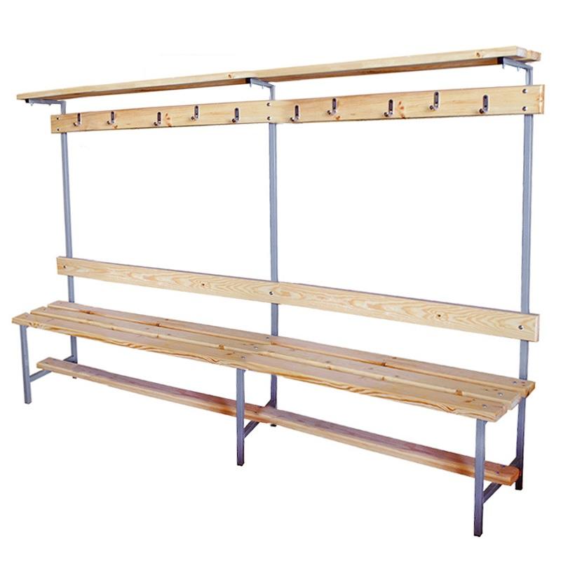 Купить Скамейка для раздевалки с вешалкой 2000 мм верхней полкой сиденье из дерева Dinamika ZSO-002201,