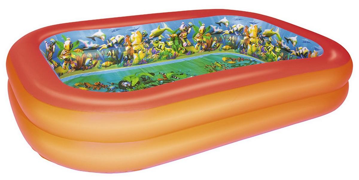 Надувной прямоугольный бассейн с 3D рисунком Поиски сокровищ 262x175x51см Bestway 54114