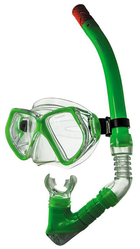 Набор для плавания Atemi (маска+трубка) Atemi (лайм), 24101