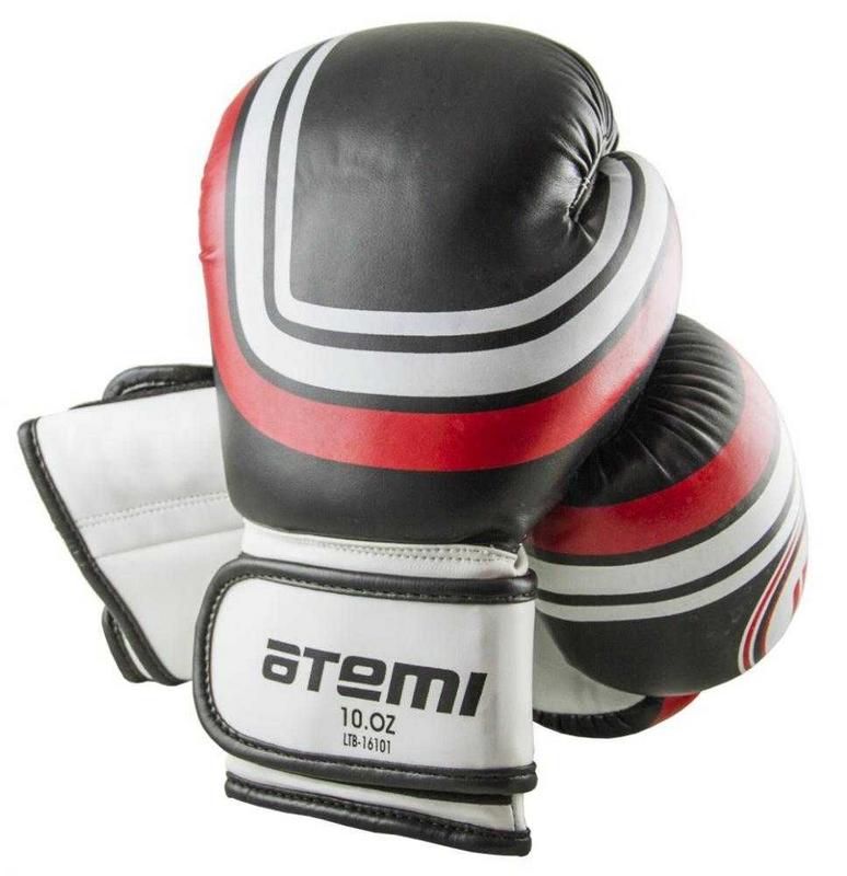 Перчатки боксерские Atemi 8 унций черный LTB-16101 перчатки боксерские green hill proffi цвет желтый черный белый вес 12 унций bgp 2014