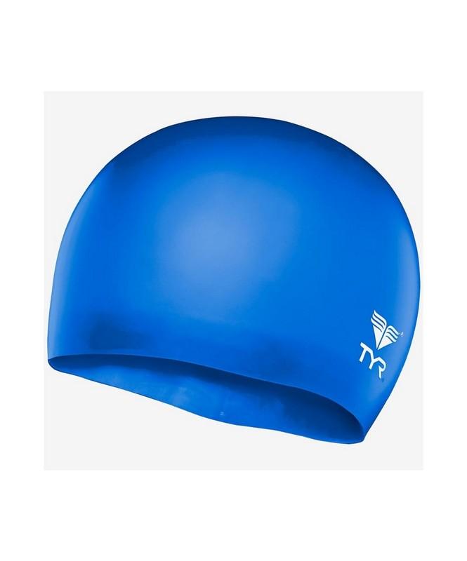 Купить Шапочка плавательная TYR Wrinkle Free Junior Silicone Cap, силикон, LCSJR428 голубой,