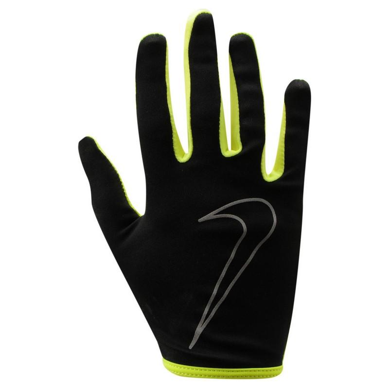 Перчатки для бега Nike Women'S Rally Run Gloves Black/Volt nike перчатки для фитнеса женские nike