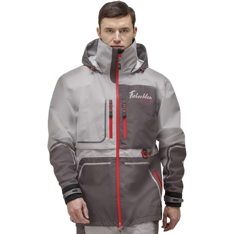 Куртка Fisherman Коаст Prime для рыбалки 95937-055 серый/красный