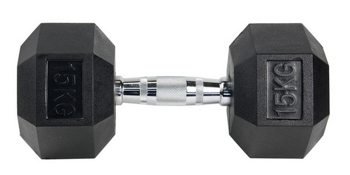 Гантель гексагональная HouseFit хромированная ручка 15кг эспандер грудной housefit dd 6304