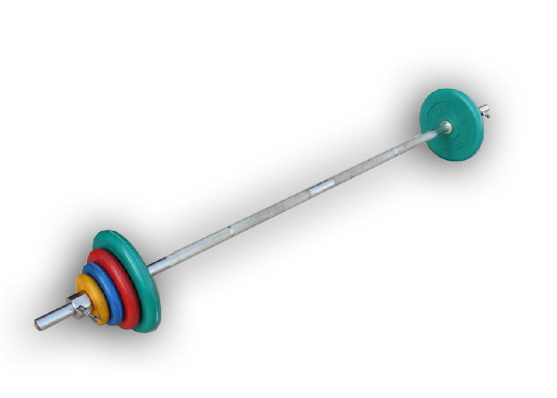 Штанга разборная, 70 кг в наборе, тренировочная, диски обрезиненные цветные, (гриф1900*30мм) ProfiGym ШТРц-70-26 диски для калины 2 купить