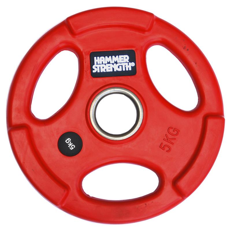 Купить Диск олимпийский цветной обрезиненный с 3-мя хватами d51мм Hammer WP074 5кг красный,