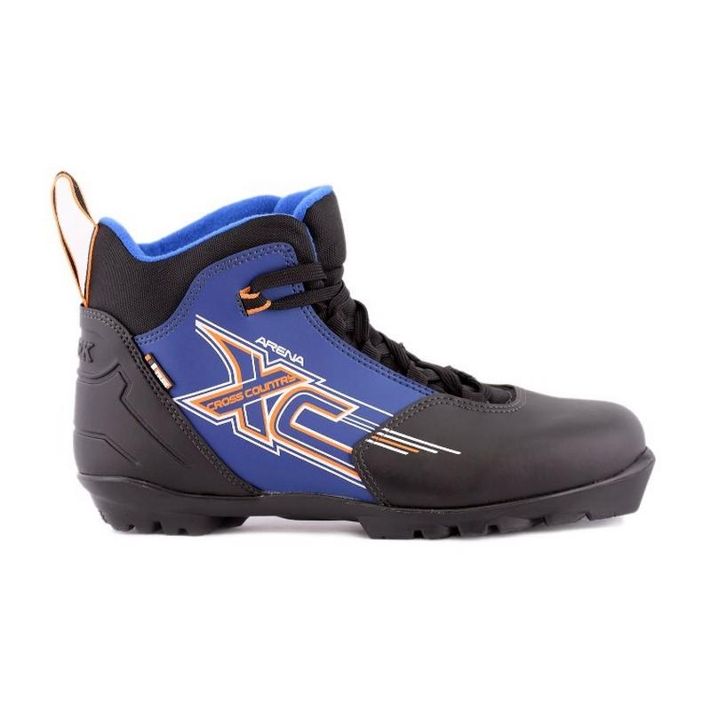 Ботинки лыжные Trek Арена NNN, черные лого синий
