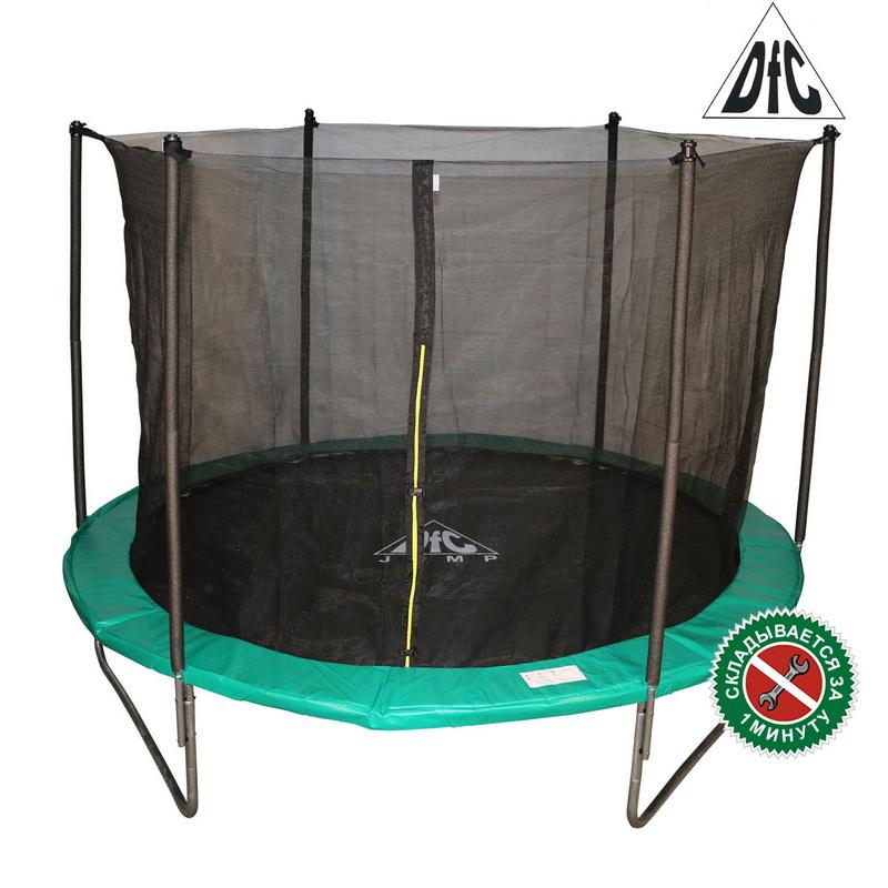 Батут DFC Jump 10FT 305 см c сеткой, складной, чехол green 10FT-TR-EG