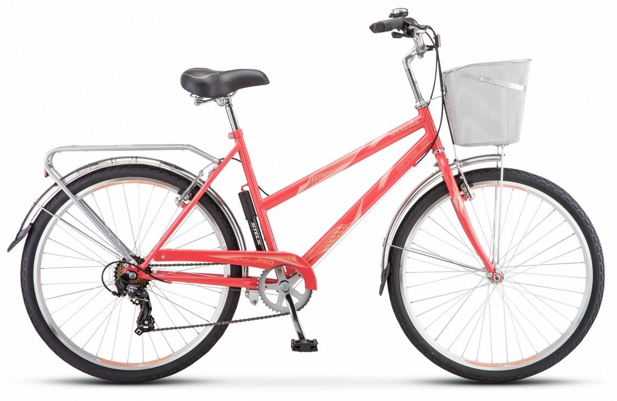 Купить Велосипед Stels Navigator 26 250 Lady Z010 2019 Коралловый (с корзиной) (LU089101),