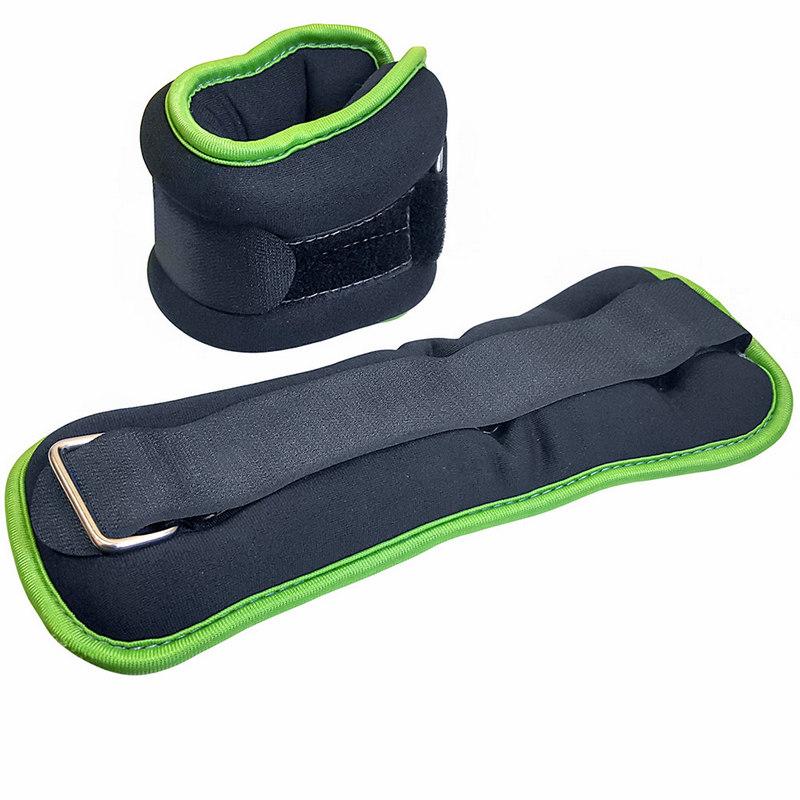 Купить Утяжелители ALT Sport (2х1,0кг), нейлон, в сумке HKAW104-1 черный с зеленой окантовкой,