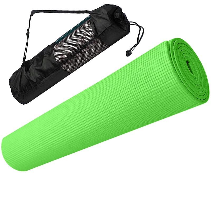 Купить Коврик для йоги ПВХ 173х61х0,4 см с чехлом E29257 зеленый, NoBrand