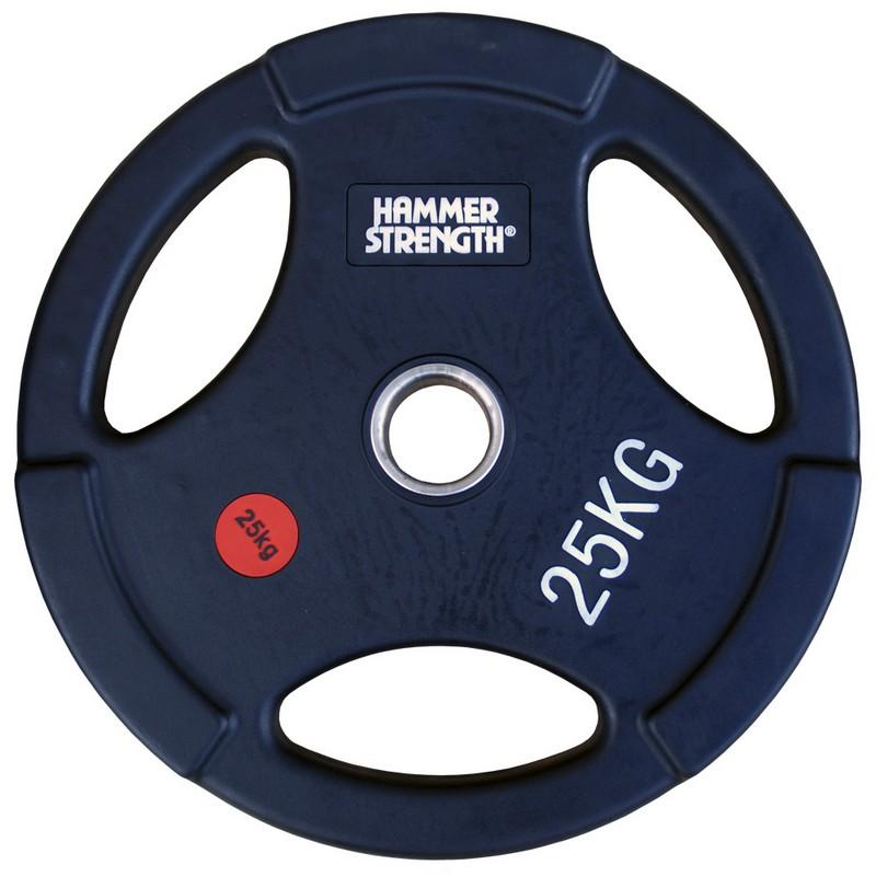 Купить Диск олимпийский обрезиненный с 3-мя хватами d51мм Hammer WP074B 25кг черный,