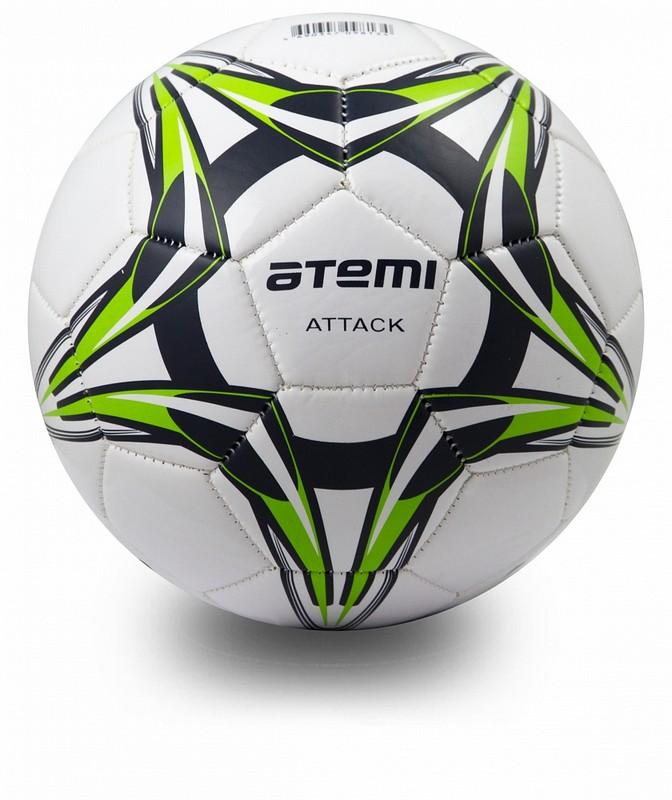 Купить Мяч футбольный Atemi Attack бело-темносине-салатовый р.5,