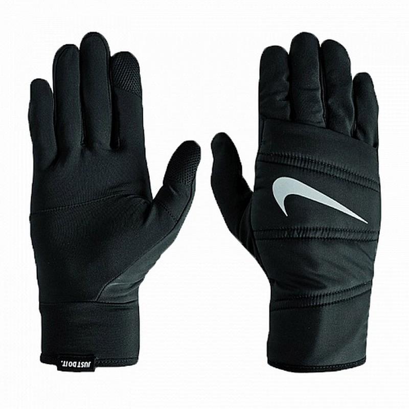 Перчатки для бега Nike Men'S Quilted Run Gloves Black/Silver nike перчатки для бега nike n rg 32 046 черный