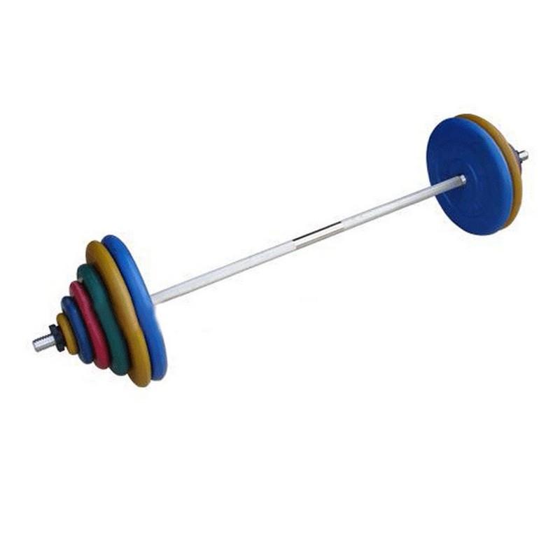 Штанга разборная, 120 кг в наборе, тренировочная, диски обрезиненные цветные, (гриф1900*30мм) ProfiGym ШТРц-120-26 диски