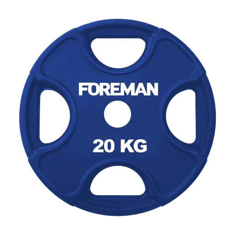 Купить Диск олимпийский обрезиненный Foreman PRR, 20 кг PRR-20KG Синий,