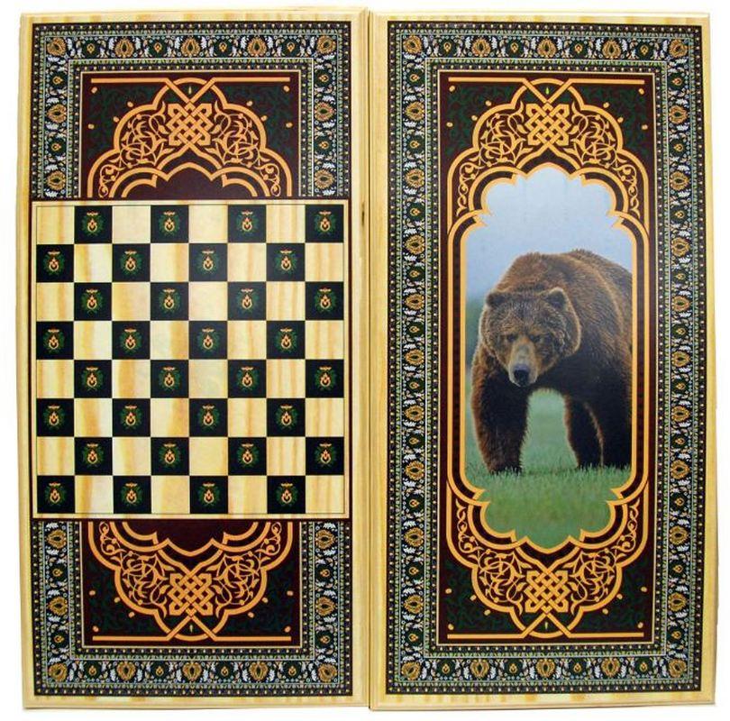 Купить Нарды + Шашки Тульские Медведь малые u104512, NoBrand
