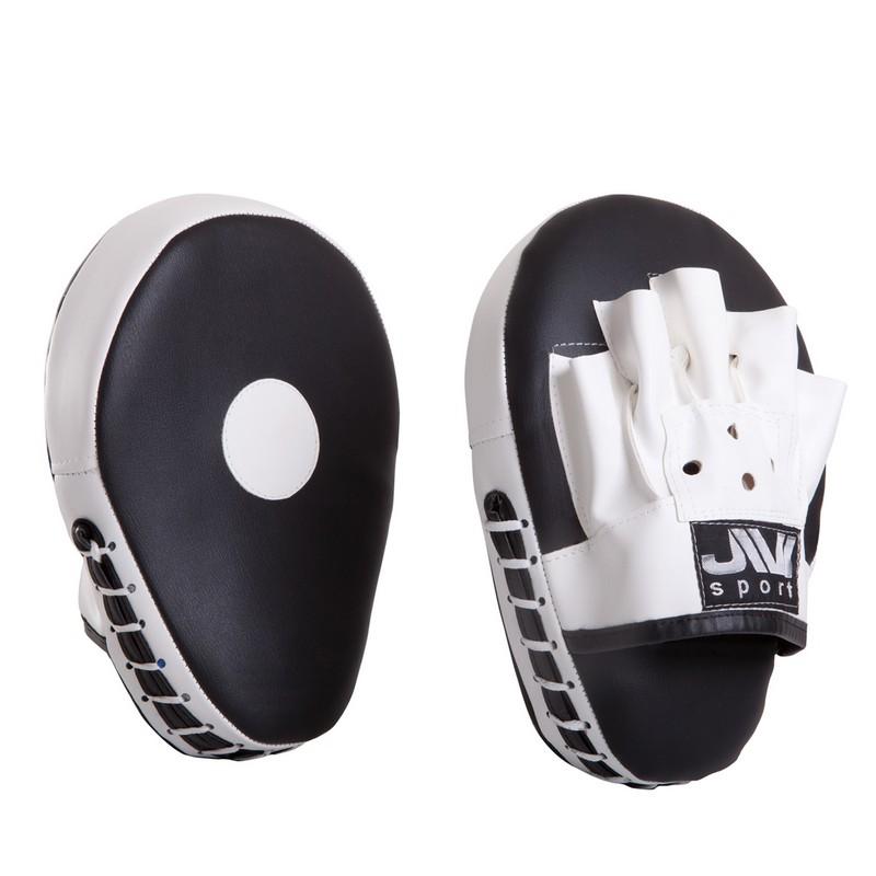 Лапы боксерские гнутые JIVIsport Е054 черно-белые лапы вверх cdmp3