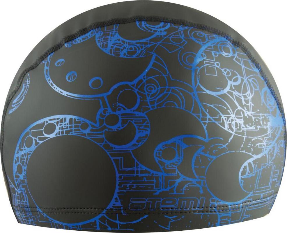 Купить Шапочка для плавания Atemi PU 303 тканевая с ПУ покрытием черная принт синий,