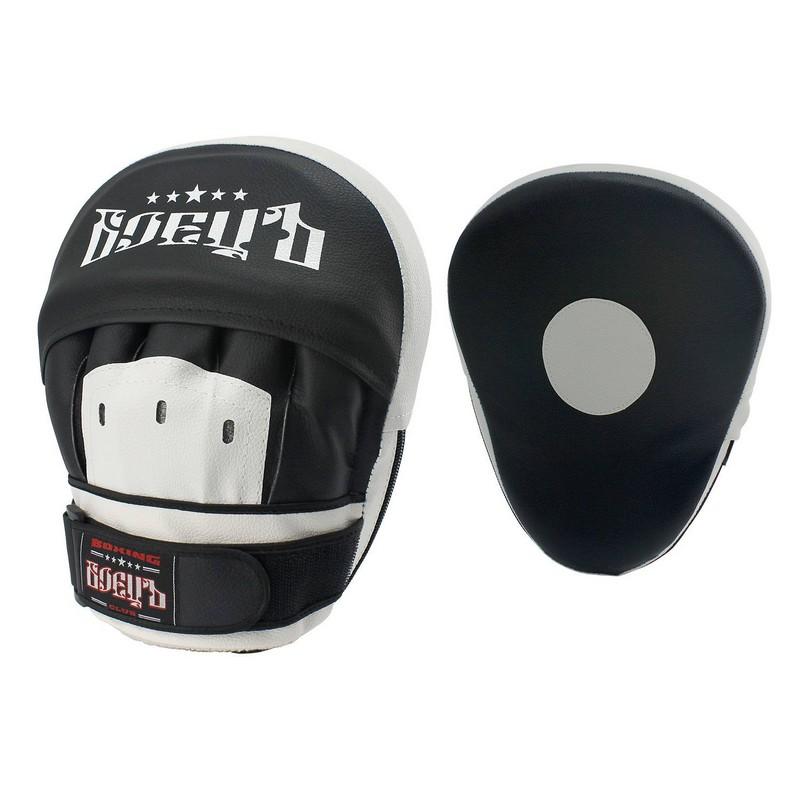 Лапы боксерские гнутые Боецъ 110 черно-белые