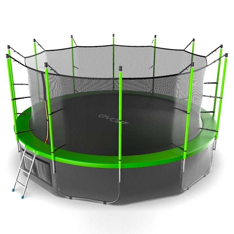 Купить Батут с внутренней сеткой и лестницей EVO Jump Internal 16FT+ нижняя сеть, зеленый, Evo