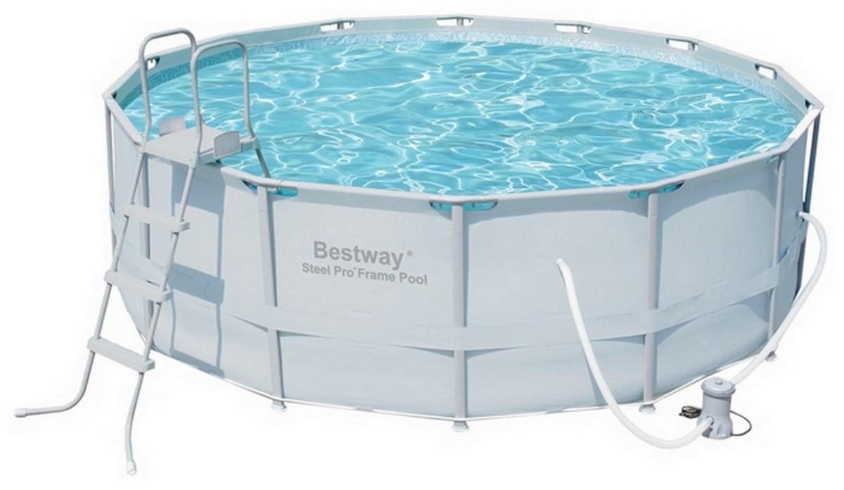 Бассейн круглый на стойках 427х122 см Bestway 56444 bestway бассейн каркасный с навесом
