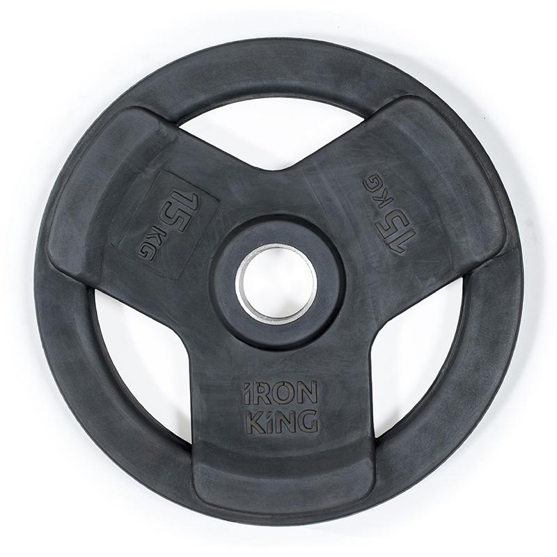 Купить Диск обрезиненный Iron King черный D50 мм 15 кг,
