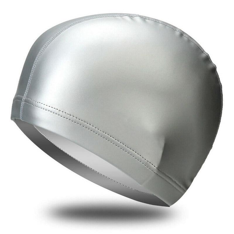 Купить Шапочка для плавания одноцветная B31516-9 (Серебро), NoBrand