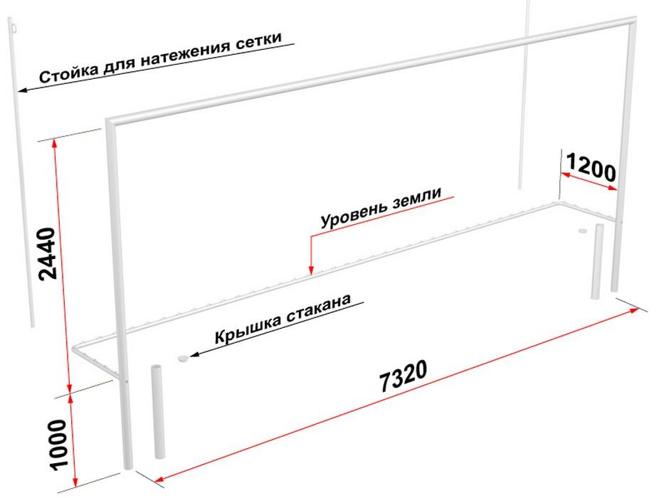 Купить Ворота футбольные Glav со стойками натяжения сетки, разборные (7,32х2,44 м) 15.104.1,