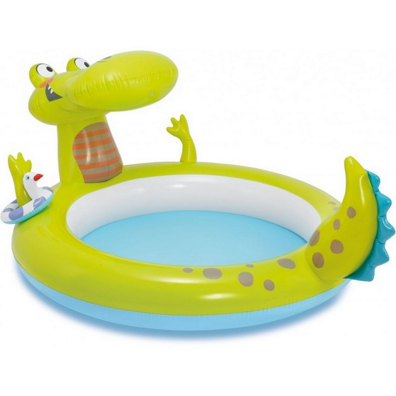 Купить Бассейн с распылителем Крокодил 198х160х91см Intex 57431, Детские надувные бассейны