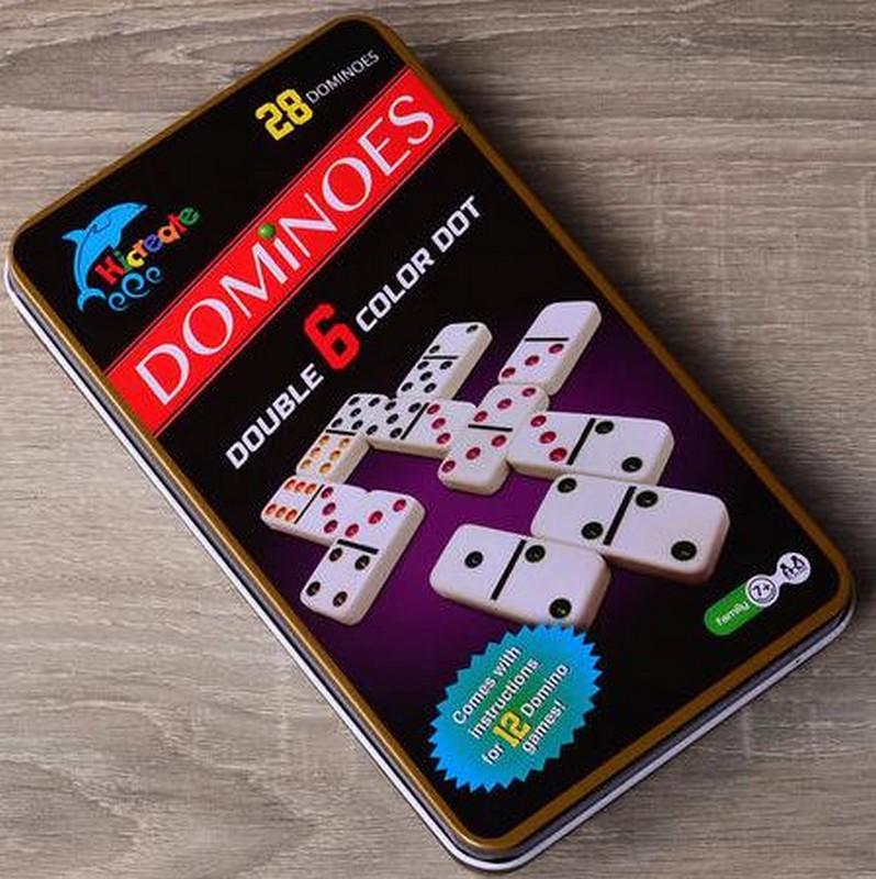 Купить Домино в железном боксе с цветными точками, NoBrand