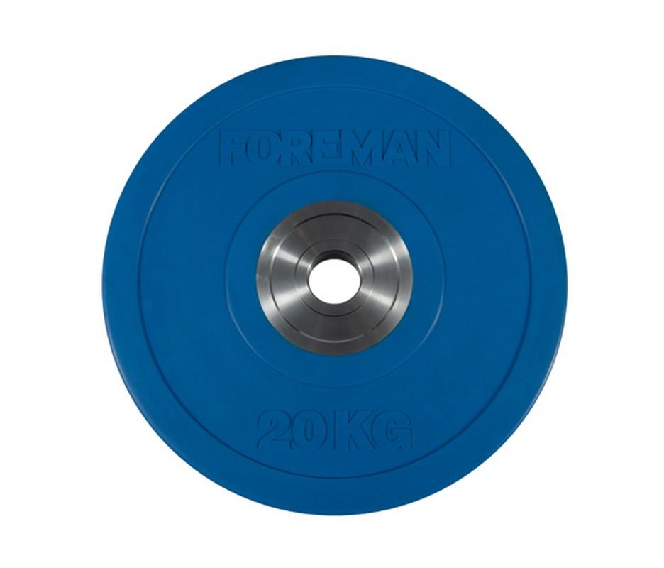 Купить Диск олимпийский бампированный Foreman Bumper, 20 кг BM-20KG Синий,