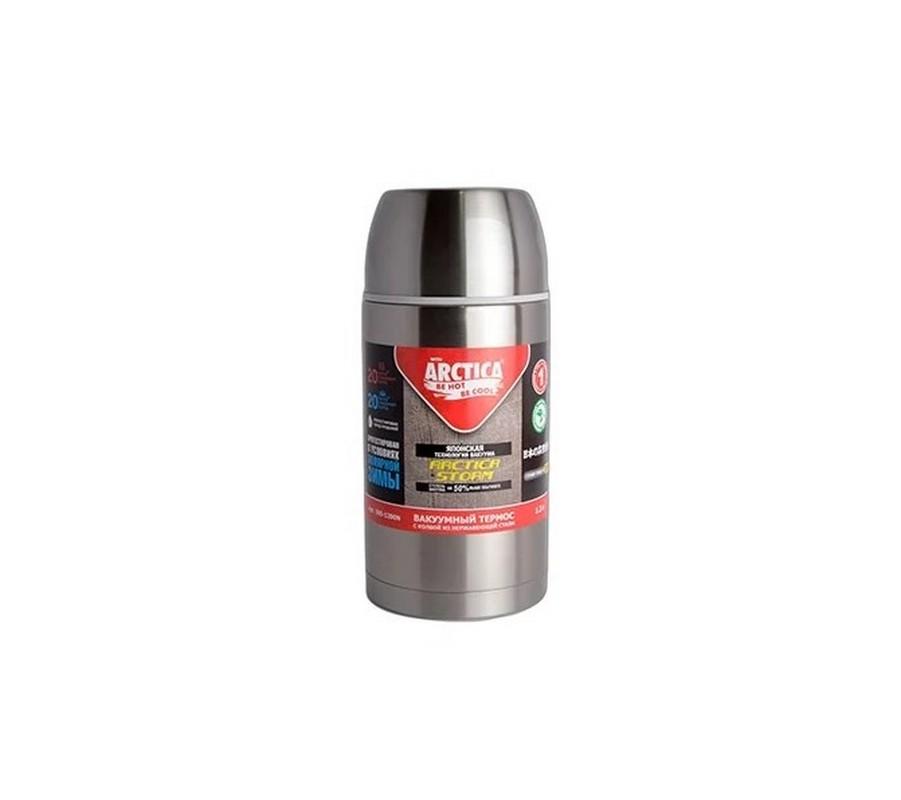 Термос бытовой, вакуумный, питьевой 1,2 л Арктика с кнопкой 305-1200N, серебристый