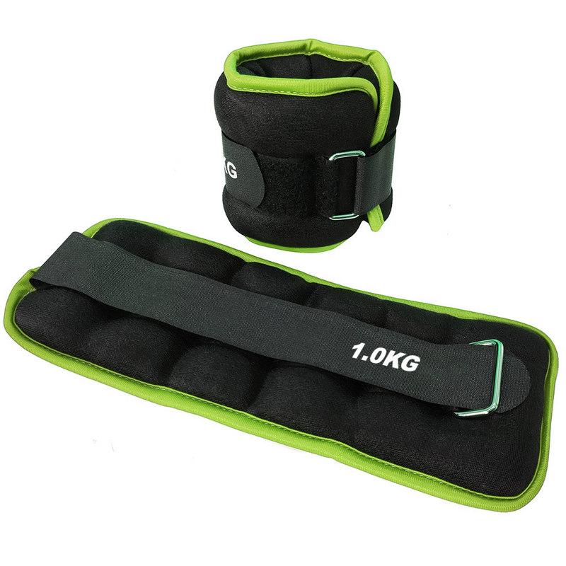 Купить Утяжелители (2х1,0кг) (нейлон) в сумке (черный с зеленой окантовкой) ALT Sport HKAW103-5,