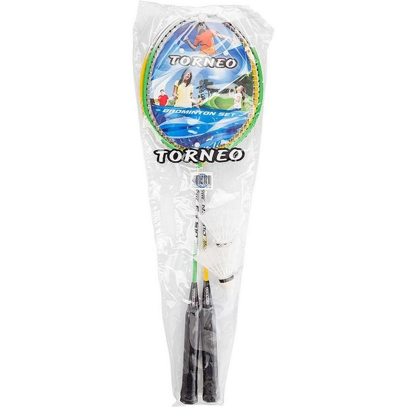 Набор для бадминтона Torneo ракетка (2 шт), волан (2 шт), чехол RS-510 набор для бадминтона пляжный 2 ракетки пластмасовые волан