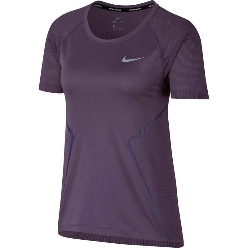 Футболка женская Nike Dry Miler Top Ss Gx W 890349-517, фиолетовая футболка беговая nike dri fit cool tailwind stripe short sleeve top
