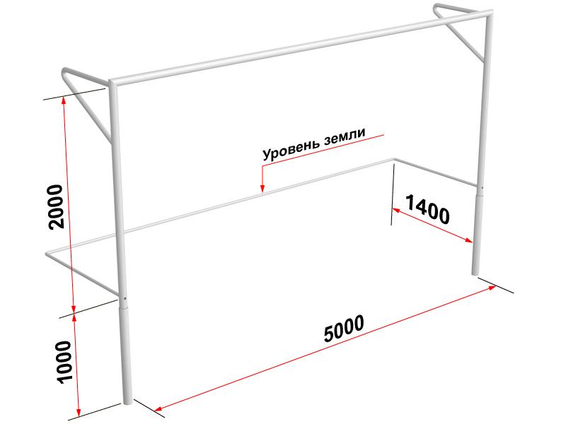 Купить Ворота футбольные юниорские Glav 15.101 500x200см,