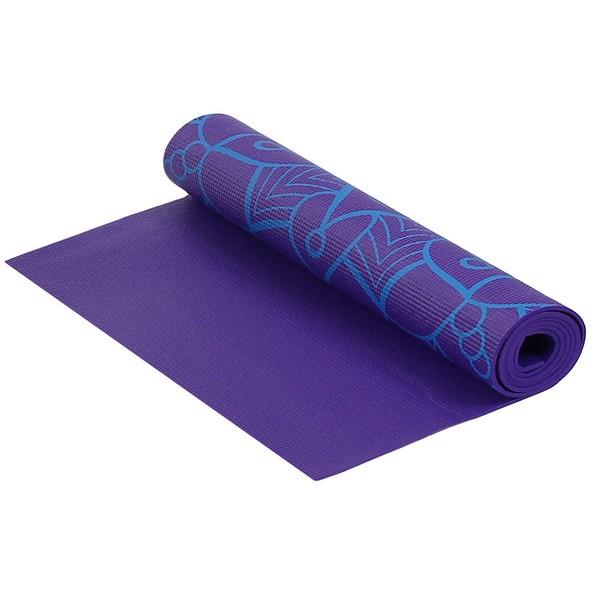 Купить Коврик для фитнеса и йоги Larsen PVC 173х61х0,5см фиолетовый с принтом,
