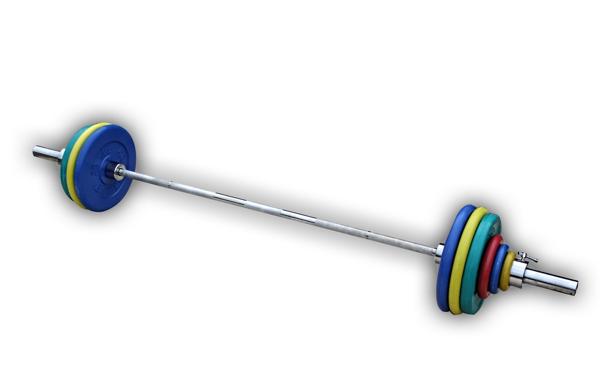 Штанга с грифом 2200*50мм, 132,5 кг в наборе, диски обрезиненные цветные ProfiGym ШТРц-132-50 разборная штанга с гантелями hawk hkdbs414 50 кг хамертон