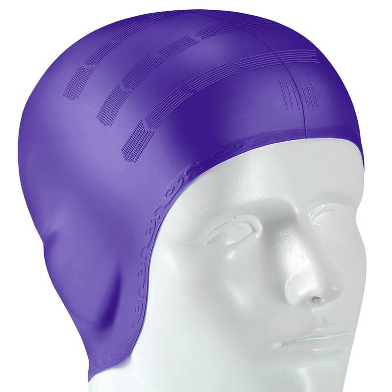 Купить Шапочка для плавания B31565 силиконовая анатомическая (фиолетовая), NoBrand