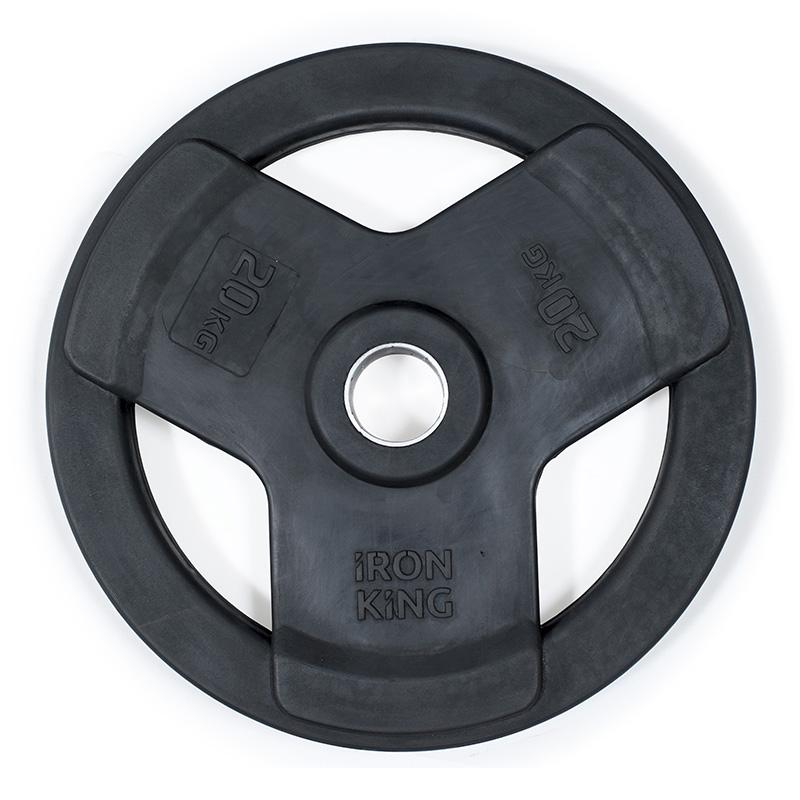 Купить Диск обрезиненный 3-мя хватами Iron King черный D50 мм 20 кг,