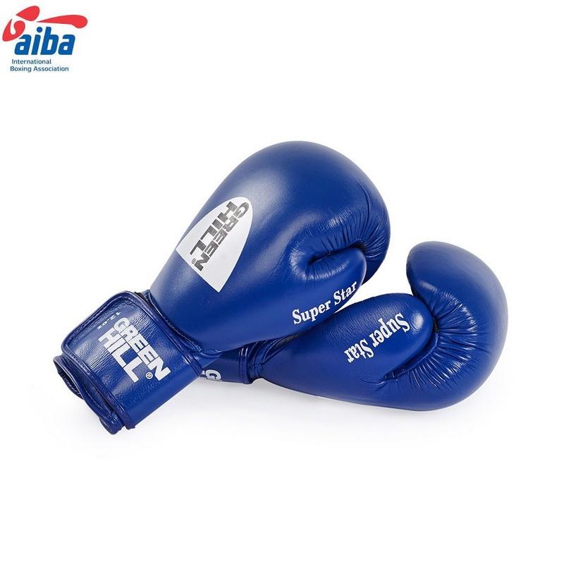 Купить Боксерские перчатки Green Hill Super Star BGS-1213a-12-BL,12oz, одобр.AIBA,, синие,
