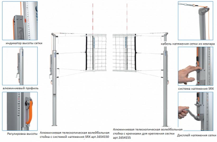 Система волейбольная телескопическая SRX Schelde Sports 1654055,  - купить со скидкой