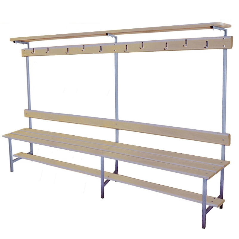 Купить Скамейка для раздевалки с вешалкой 2000 мм верхней полкой сиденье из фанеры Dinamika ZSO-002198,