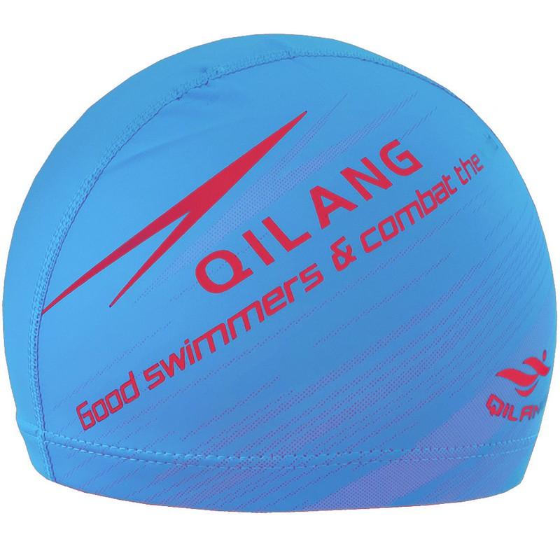 Купить Шапочка для плавания B31567-10 с принтом ПУ (голубая), NoBrand