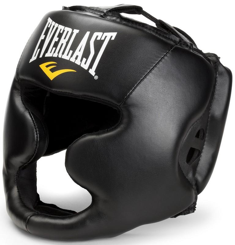 Шлем закрытый Everlast Martial Arts full face 7420LXLU, L/XL, к/з, черный шлем боксерский everlast martial arts leather full face цвет красный размер s m